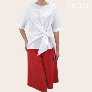 Conjuntos de falda y blusa para fiesta Camisera lino Polonia blanca