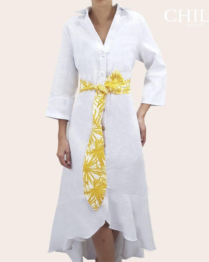 Vestido formales 100% lino blanco