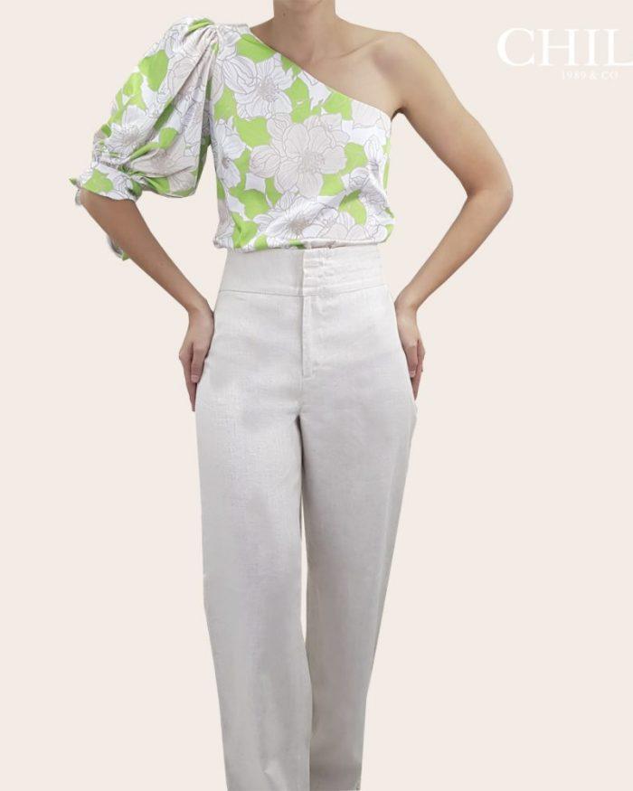 Pantalon formal de lino bota recta talle alto