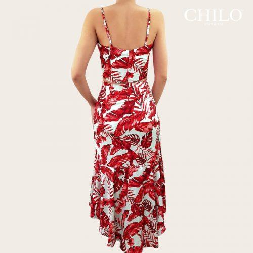 Conjunto set falda y top estampado mixto espalda