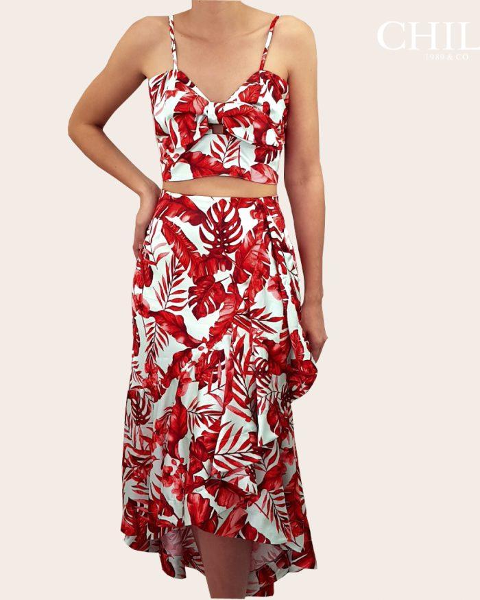 Falda larga y blusa para fiesta de hojas