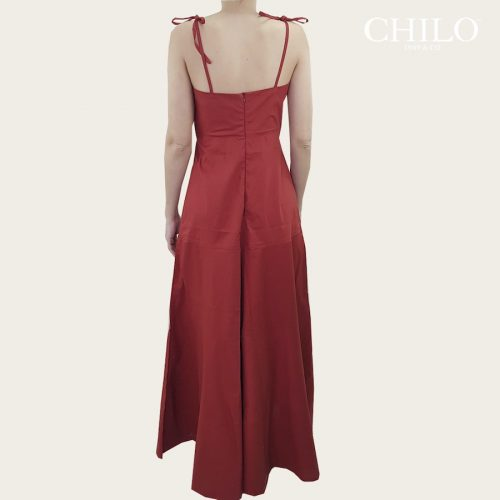 Vestido en Popelina Color Ladrillo Espalda