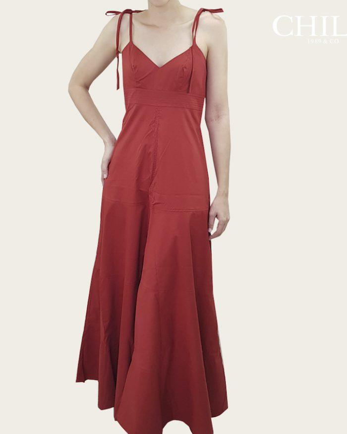 Vestido en Popelina Color Ladrillo de Tiras