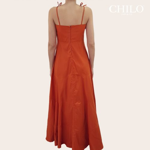 Vestido Formal de Mujer popelina espalda ladrillo