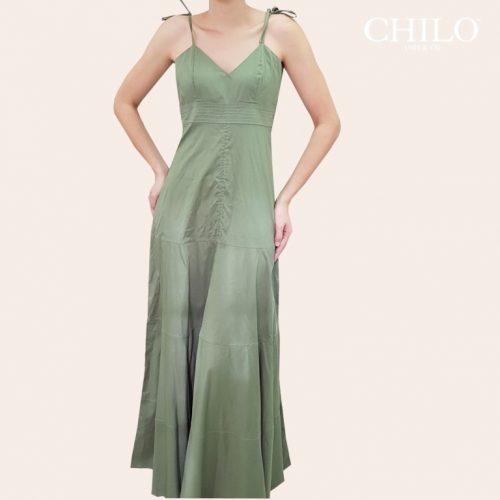 vestido largo en popelina verde de tiras