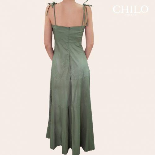 Vestido Largo en Popelina verde espalda