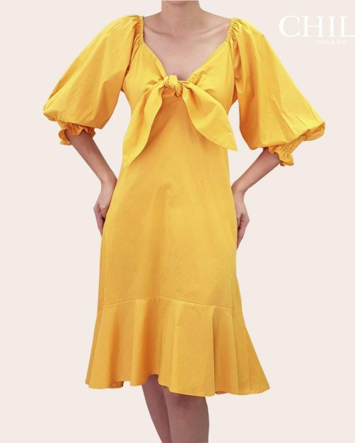 vestido formal mujer en popelina media pierna