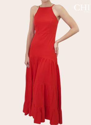 Vestido Casual Largo de tiras Rojo