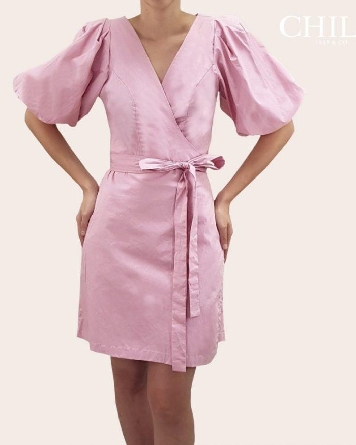 Vestido en Popelina Corto Rosa