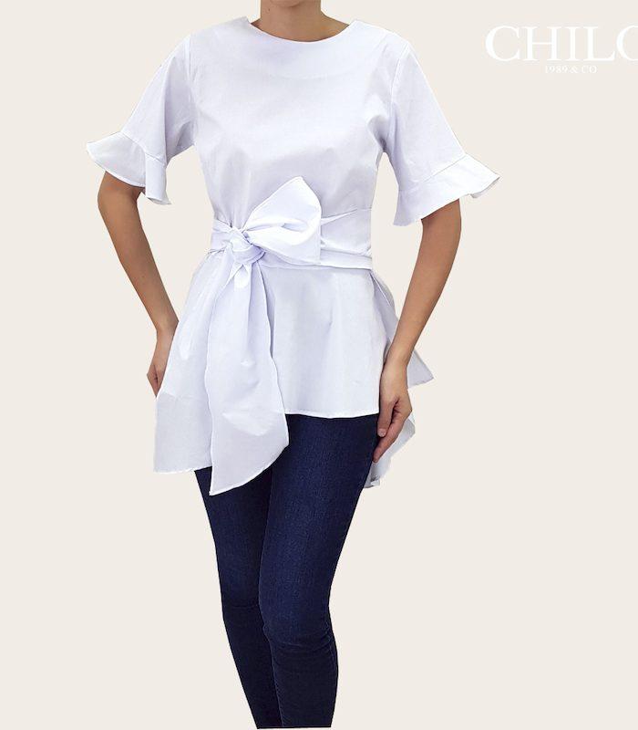 Blusa Camisera Blanca con lazo