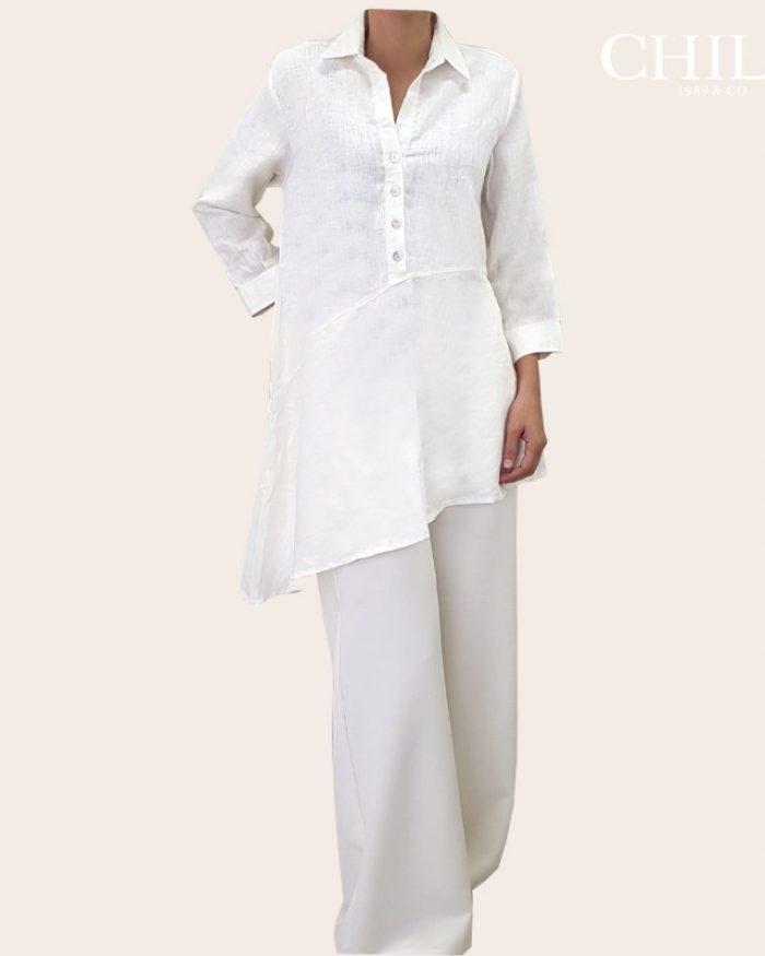 Camisero de lino de mujer blanco