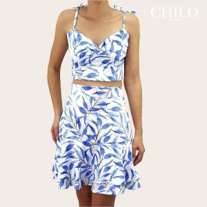 Set de top y falda estampado azul