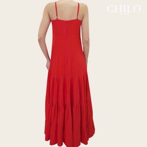 Vestido arandela rojo largo espalda