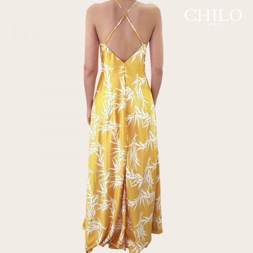 Vestido de fiesta amarillo largo espalda