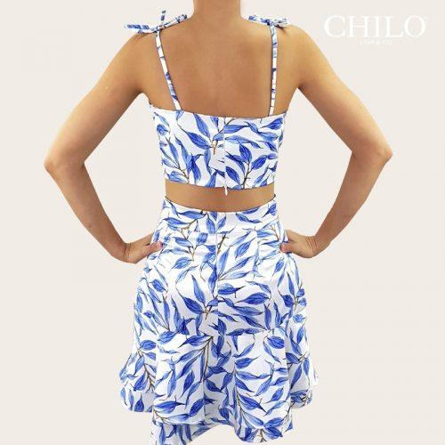 Set de top y falda estampada azul espalda