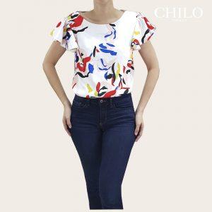 Blusa básica en seda estampado colores mixtos