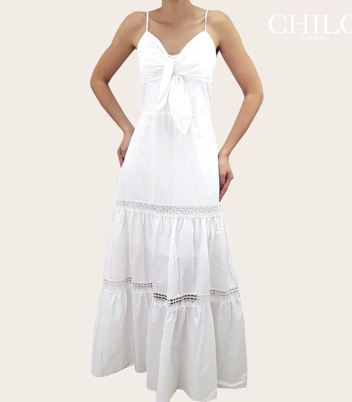 Vestido en popelina Blanco largo con encaje