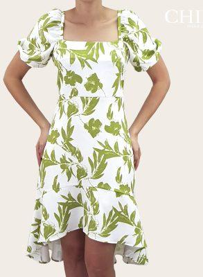 Vestido casual con cinturon estampado de flores verdes