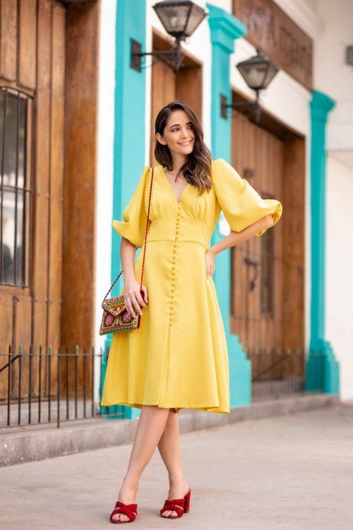 Vestido de Botones Amarillo tipo Talego