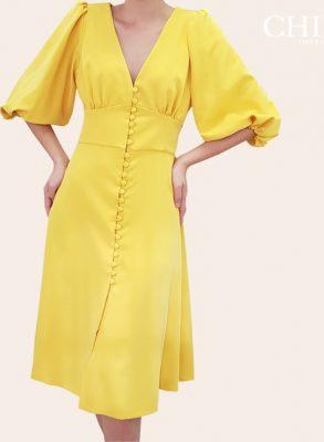 Vestido de botones falda a la rodilla color amarillo