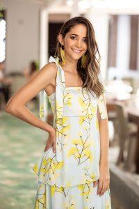 Vestido de fiesta en seda y chifon flores amarillas