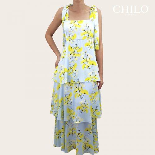 Vestido en seda con arandelas flores amarillas