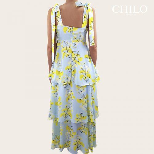 Vestido en seda con arandelas flores amarillas espalda