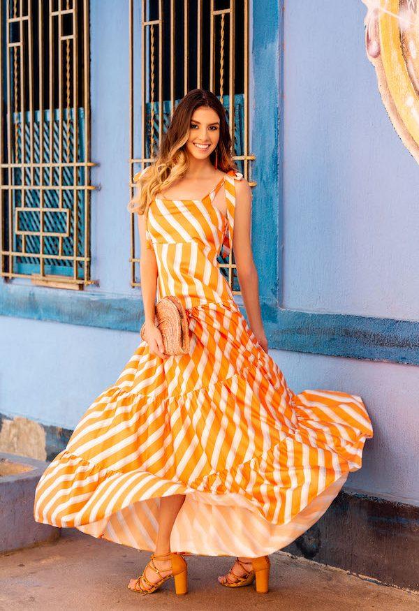 Vestido en seda de rayas naranja