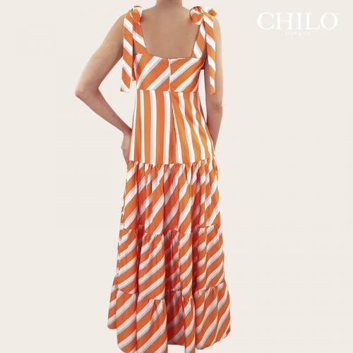 Vestido en seda de rayas naranja espalda
